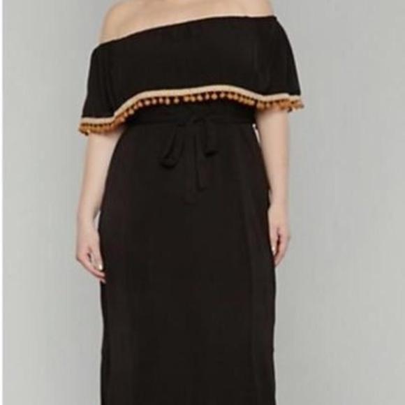 7af3100e79f Ladies Pom Pom Fringe Maxi Plus Size Dress 1X 3X